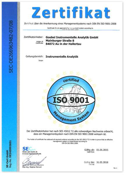 ISO-Zertifikat der Firma Goebel instrumentelle Analytik GmbH